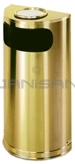 "Rubbermaid / United Receptacle SO8SUSBS Metallic Designer Line Half Round Ash/Trash Receptacle - Satin Brass Stainless Steel - 9 Gallon Capacity - 18"" W x 32"" H x 9"" D - Disposal Opening is 15"" W x 5"" H"
